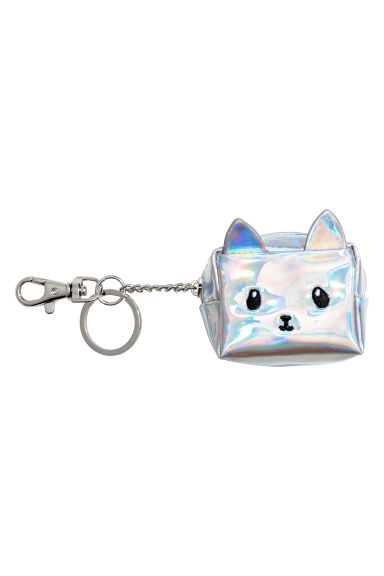 Mini pouch with a key chain - Silver-coloured/Cat - Ladies | H&M GB