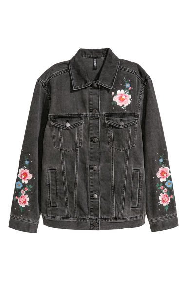 Printed denim jacket - Black washed out/Flowers -  | H&M
