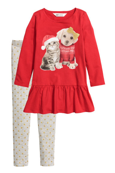 Dress and leggings - Red/Animals -  | H&M