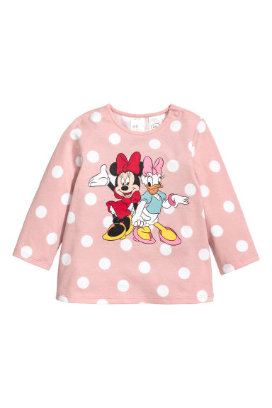 Long-sleeved top - Powder pink/Minnie Mouse - Kids | H&M