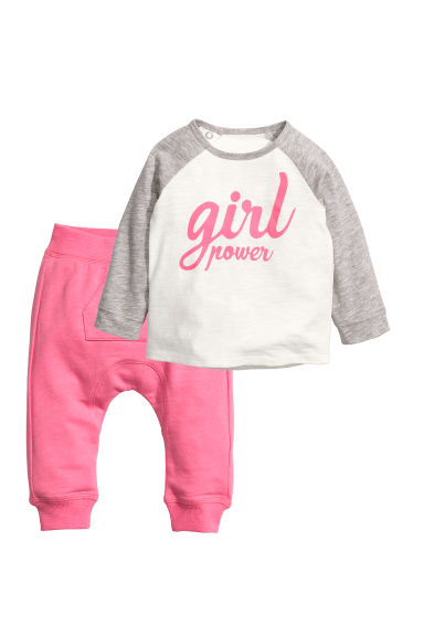 Sweat et pantalon jogger - Rose/Girl Power - ENFANT | H&M CH 1