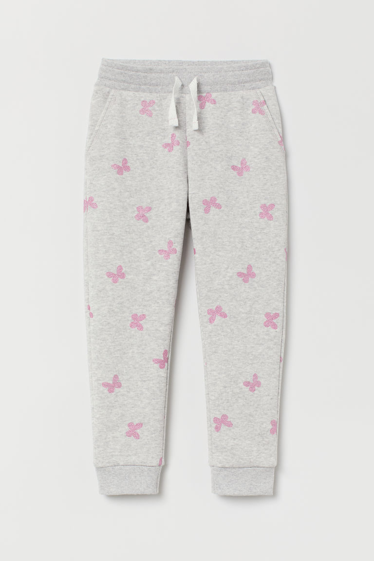 Joggers - Light grey marl/Butterflies -  | H&M GB
