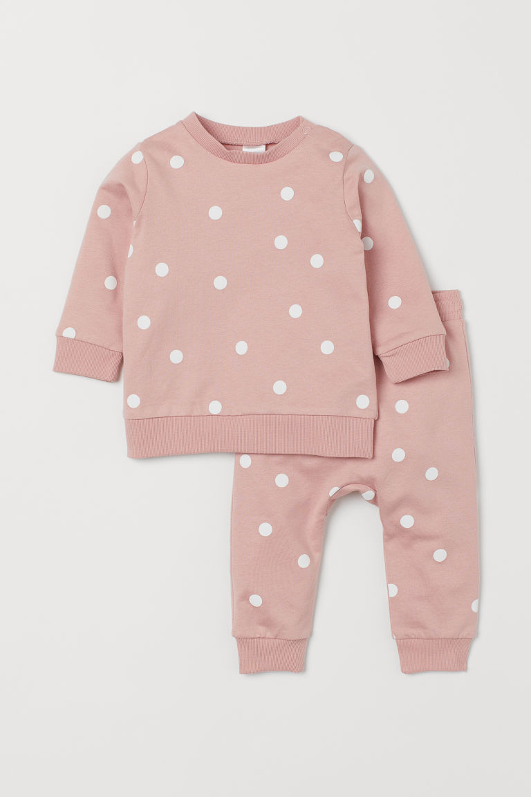 Sweatshirt and trousers - Light pink/Spotted - Kids | H&M GB