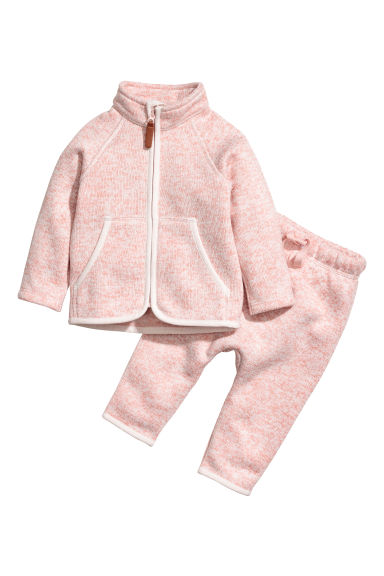 Fleece jacket and trousers - Light pink - Kids | H&M CN