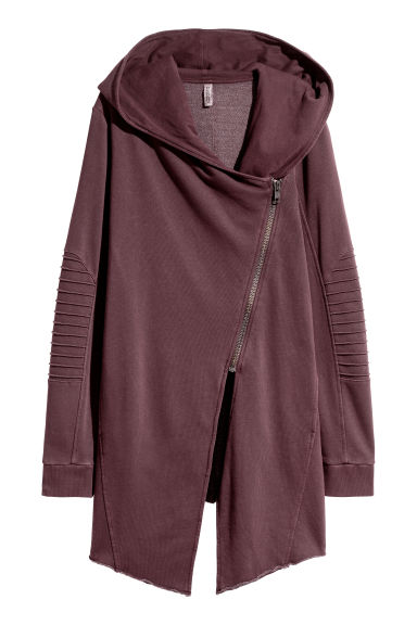 Hooded sweatshirt cardigan - Dark burgundy - Ladies | H&M