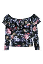 Off-the-shoulder top - Black/floral - Ladies | H&M IE 2
