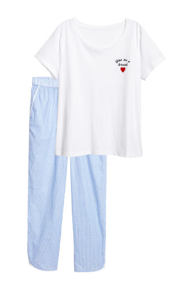 Pyjamas - White/Blue striped - Ladies | H&M