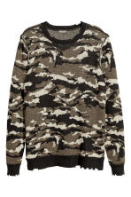 Jacquard-knit jumper - Khaki green/Patterned - Men | H&M 2