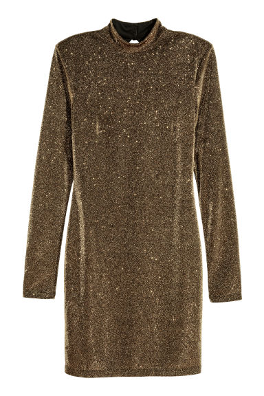 Glittery dress - Black/Gold-coloured - Ladies | H&M IE