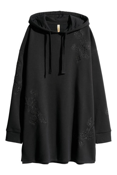 Hooded sweatshirt dress - Black/Floral - Ladies | H&M