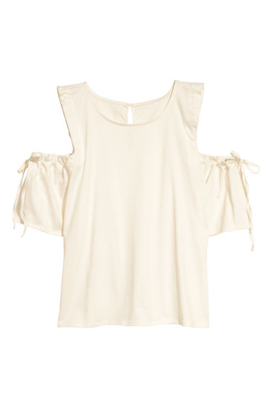 Cold shoulder top - Natural white - Ladies | H&M CN