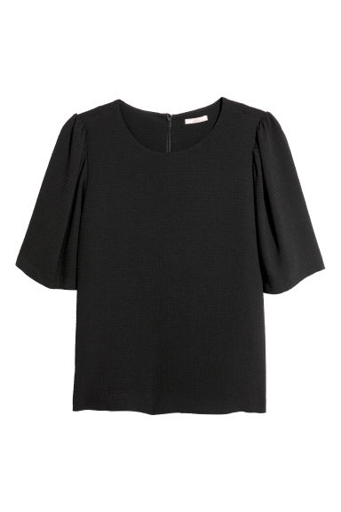 H&M+ Puff-sleeved blouse - Black - Ladies | H&M GB