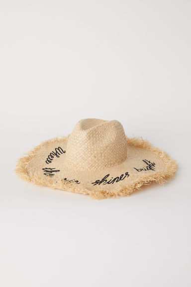 Straw hat with embroidery - Natural - Ladies | H&M CN