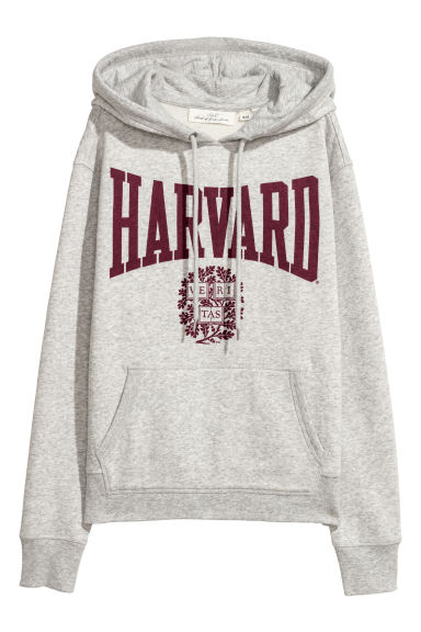 Printed hooded top - Light grey/Harvard - Ladies | H&M
