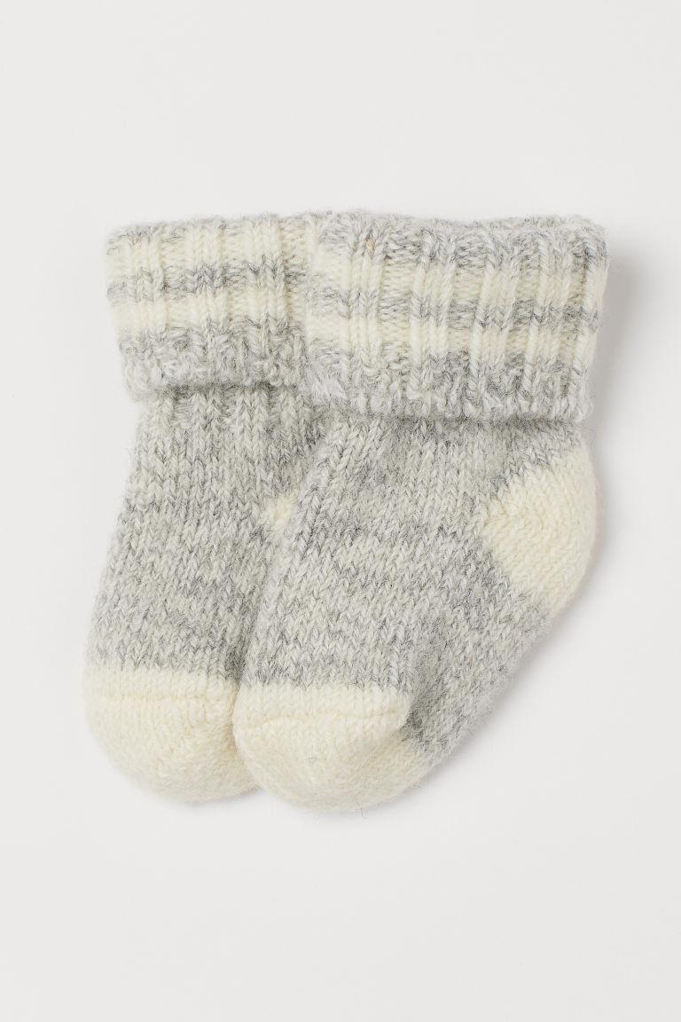 Thick wool-blend socks - Light grey marl - Kids | H&M GB