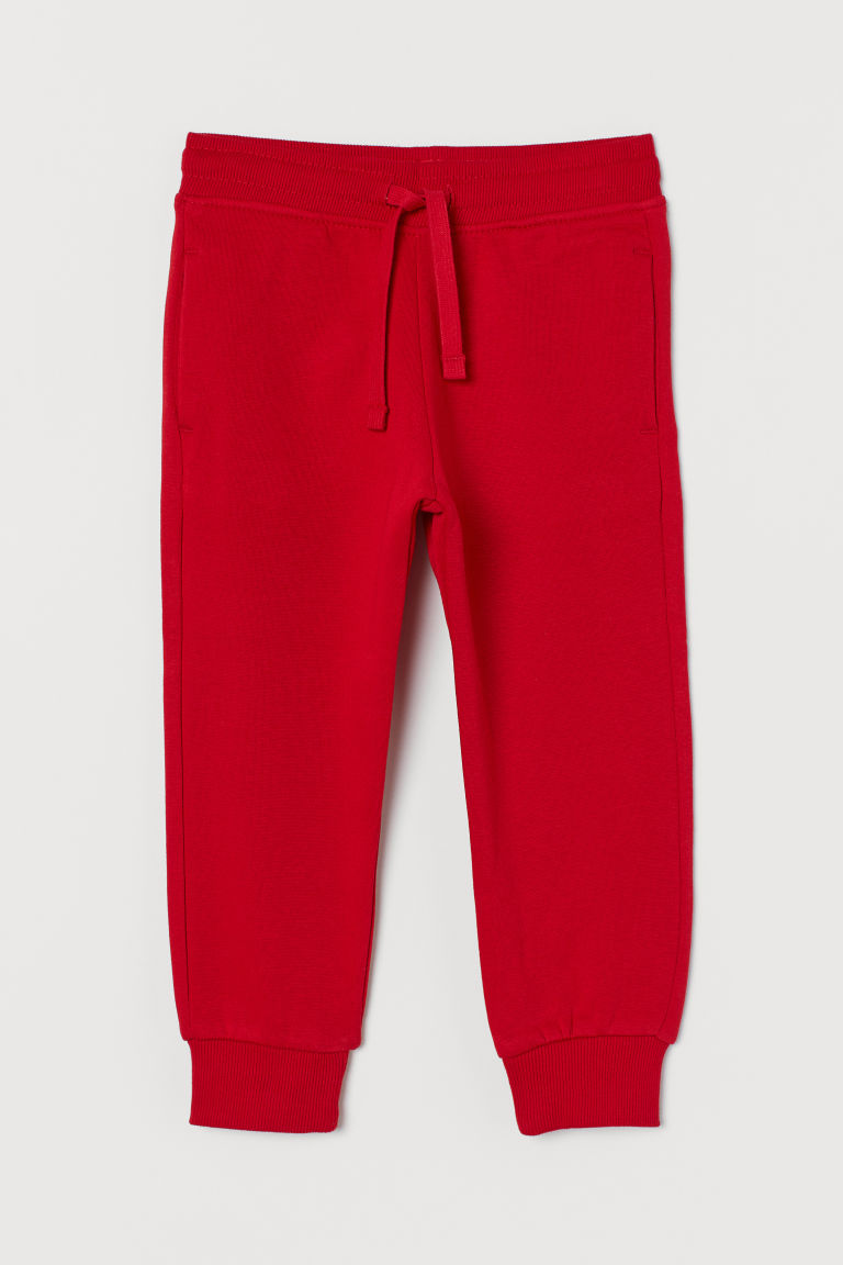 Cotton-blend joggers - Red - Kids | H&M GB