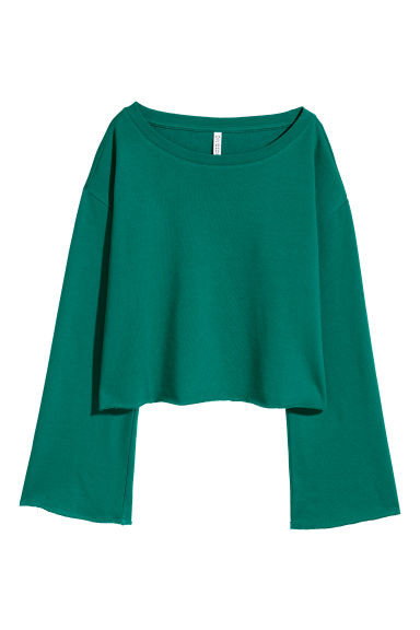 Cropped sweatshirt - Emerald green -  | H&M GB