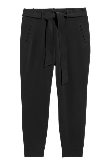 H&M+ Trousers with a tie belt - Black - Ladies | H&M IE 1