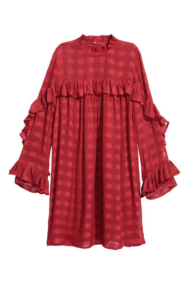 Textured dress - Red -  | H&M