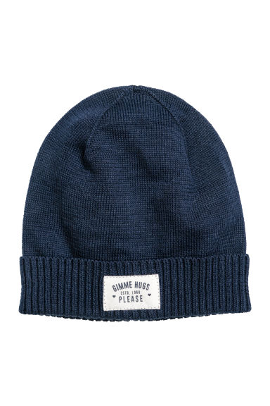 Fine-knit hat - Dark blue - Kids | H&M