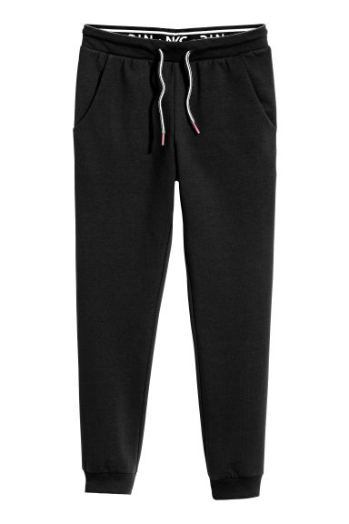 Joggers with a foldover waist - Black - Kids | H&M