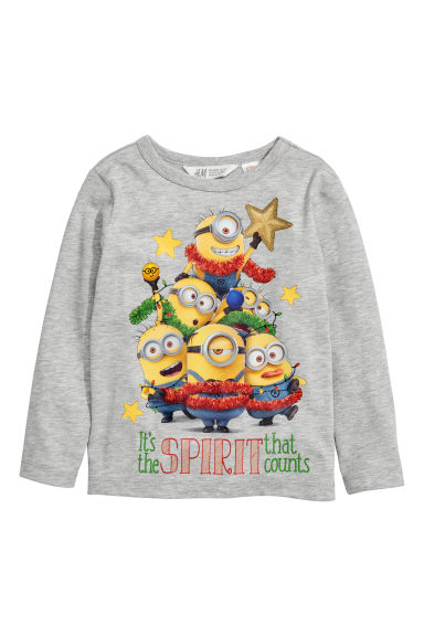 Printed jersey top - Grey/Minions - Kids | H&M CN