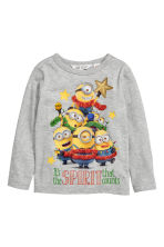 Printed jersey top - Grey/Minions - Kids | H&M CN 2