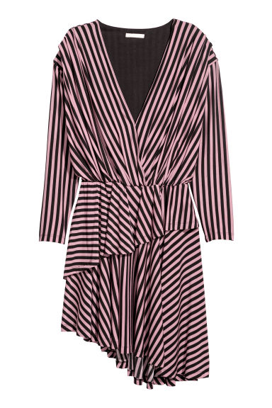 V-neck dress - Powder pink/Black striped - Ladies | H&M