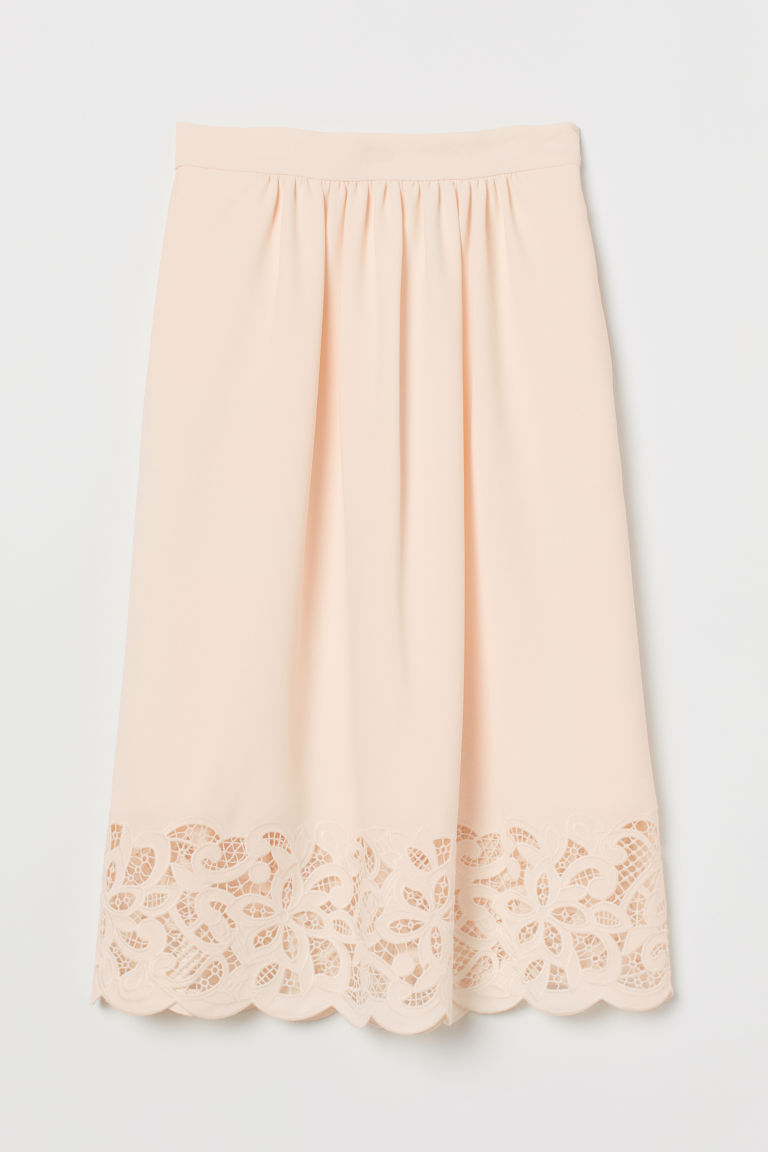Skirt with lace - Cream - Ladies | H&M GB