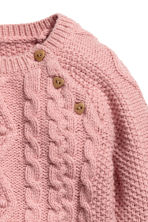 Cable-knit jumper - Old rose -  | H&M CN 2