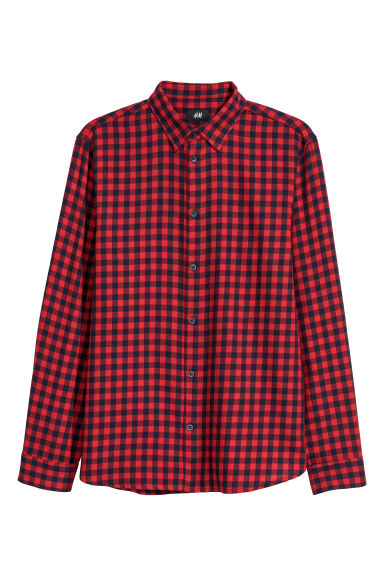 Flannel shirt Regular fit - Red/Black checked -  | H&M CN