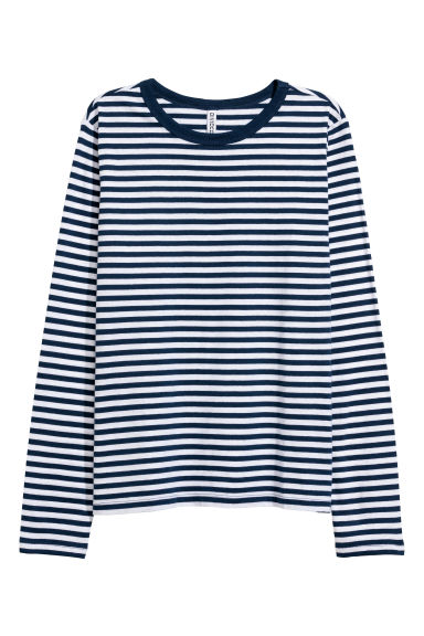 Striped jersey top - Blue/White striped - Ladies | H&M