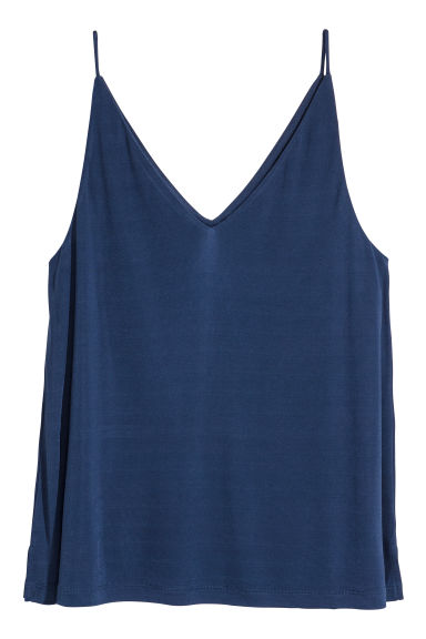 V-neck strappy top - Dark blue - Ladies | H&M