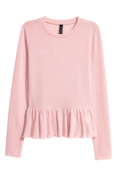 Glittery peplum jumper - Light pink/Glittery - Ladies | H&M