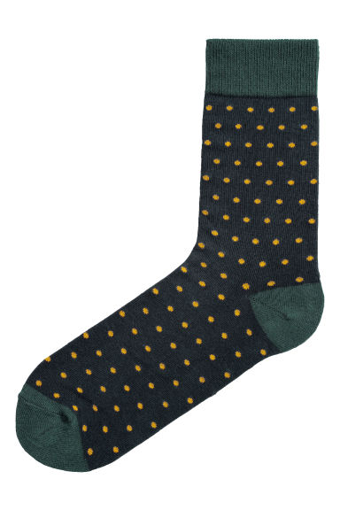 Spotted socks - Dark green/Yellow spots - Men | H&M