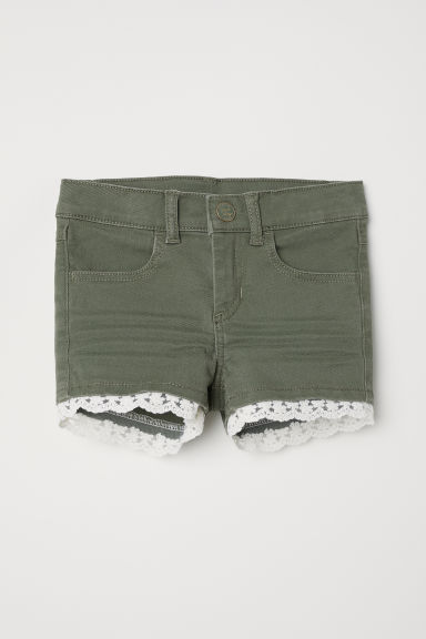 Lace-trimmed twill shorts - Khaki green - Kids | H&M CN