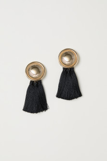 Tasselled clip earrings
