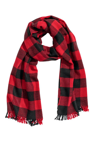 Checked scarf - Red/Black checked - Men | H&M