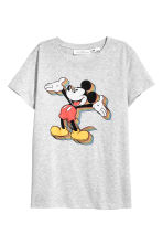 Printed T-shirt - Grey marl/Mickey Mouse - Ladies | H&M 2