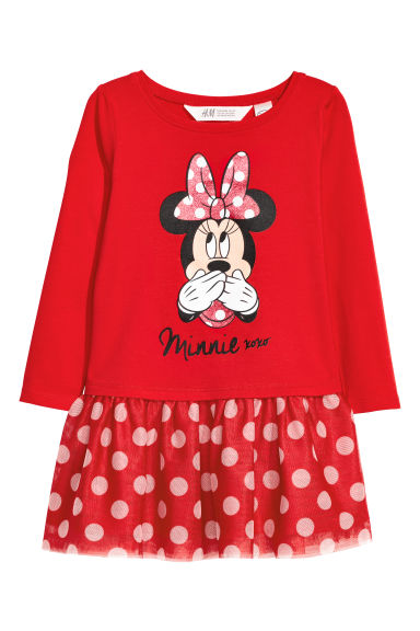 Dress with a tulle skirt - Red/Minnie Mouse - Kids | H&M