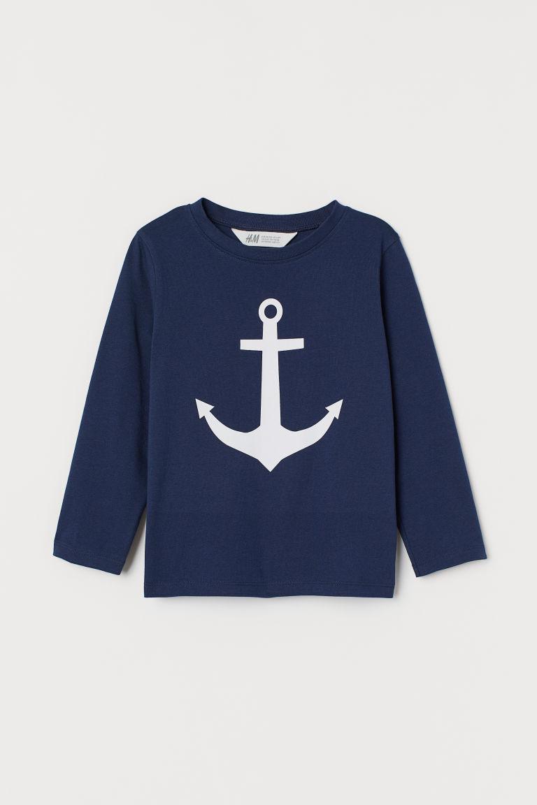 Printed jersey top - Dark blue/Anchor - Kids   H&M GB