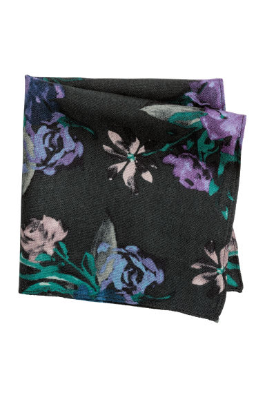 Wool handkerchief - Black/Floral - Men | H&M CN