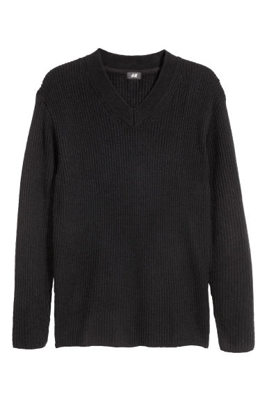 V-neck jumper - Black - Men | H&M