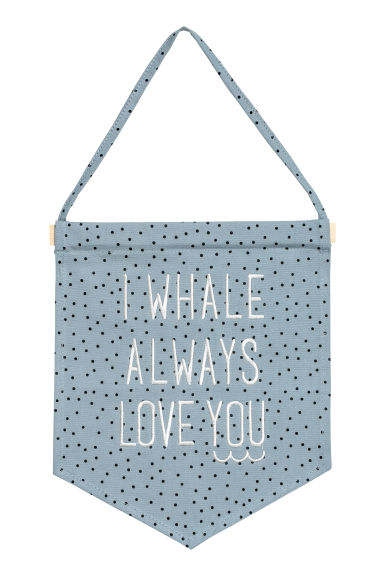 Pennant with text embroidery - Grey-blue/Spotted - Home All | H&M IE 1