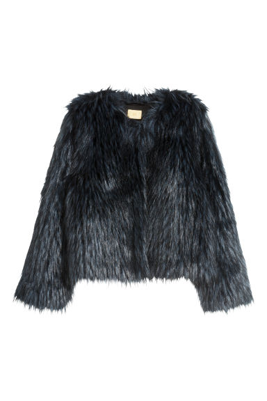 Faux fur jacket - Dark blue/Black - Ladies | H&M CN