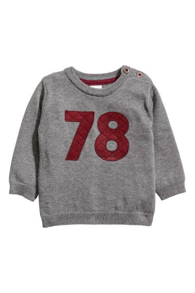 Fine-knit cotton jumper - Grey marl - Kids | H&M GB