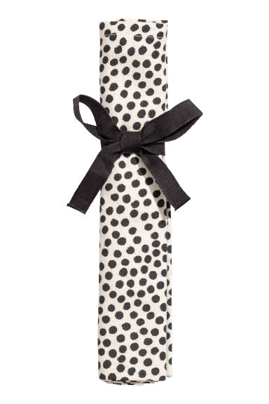 Spotted cotton napkin - Natural white/Black spotted - Home All | H&M IE