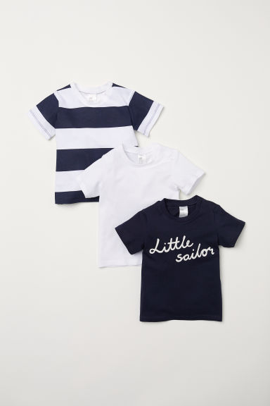 T-shirts en coton, lot de 3 - Bleu foncé/Little Sailor -  | H&M FR