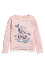 Lace-trimmed jersey top - Powder pink - Kids | H&M CN 2