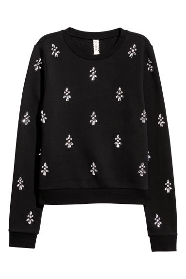 Sweatshirt with sparkly stones - Black - Ladies | H&M GB